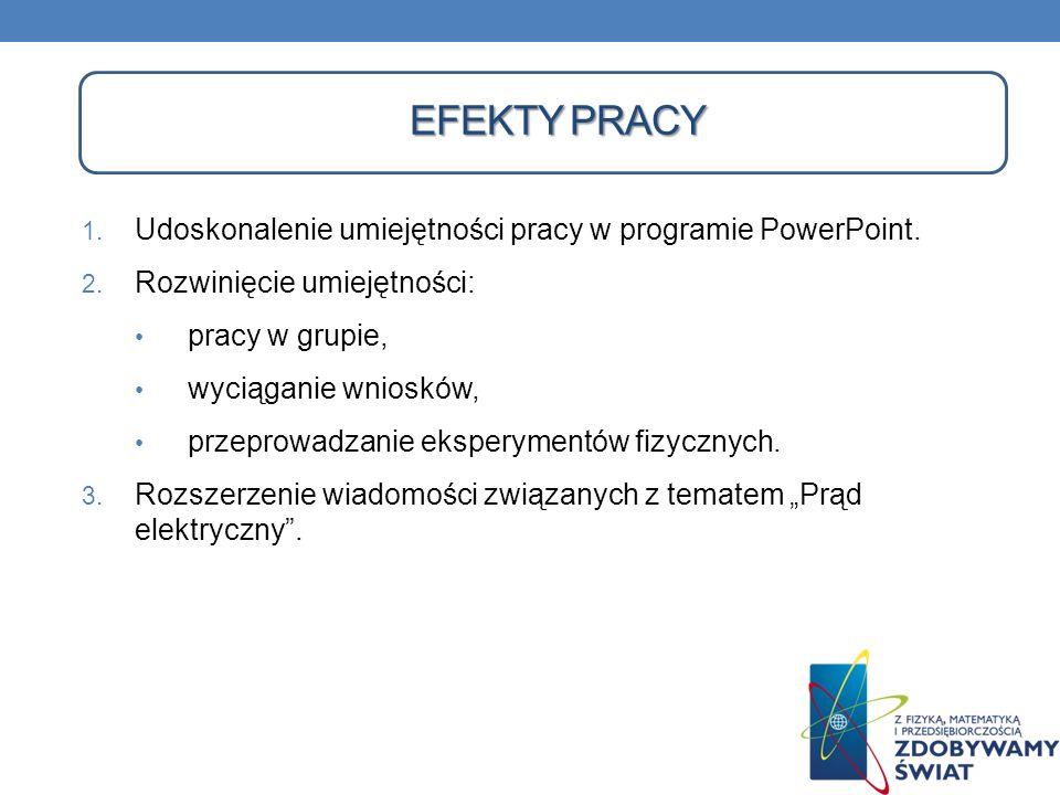 EFEKTY PRACY 1. Udoskonalenie umiejętności pracy w programie PowerPoint. 2. Rozwinięcie umiejętności: pracy w grupie, wyciąganie wniosków, przeprowadz