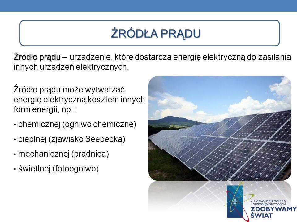 ŹRÓDŁA PRĄDU Źródło prądu Źródło prądu – urządzenie, które dostarcza energię elektryczną do zasilania innych urządzeń elektrycznych. Źródło prądu może