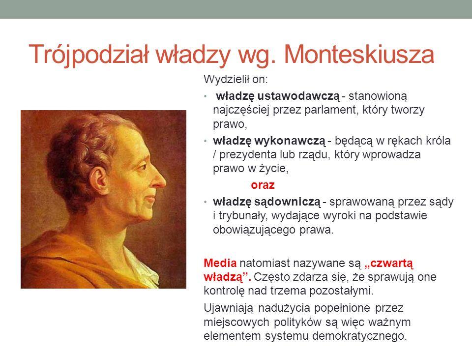 Trójpodział władzy wg. Monteskiusza Wydzielił on: władzę ustawodawczą - stanowioną najczęściej przez parlament, który tworzy prawo, władzę wykonawczą