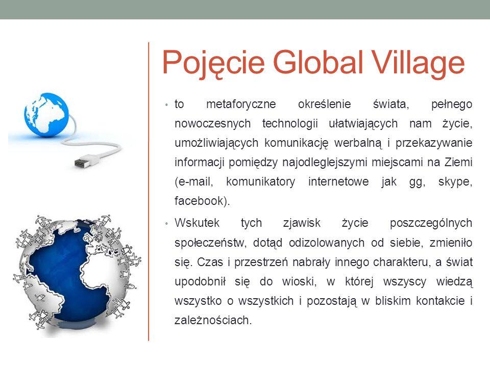 Pojęcie Global Village to metaforyczne określenie świata, pełnego nowoczesnych technologii ułatwiających nam życie, umożliwiających komunikację werbal