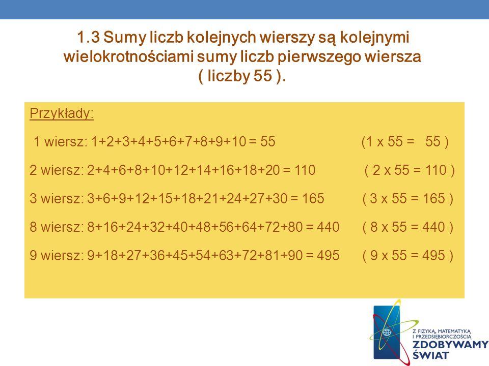 1.3 Sumy liczb kolejnych wierszy są kolejnymi wielokrotnościami sumy liczb pierwszego wiersza ( liczby 55 ).