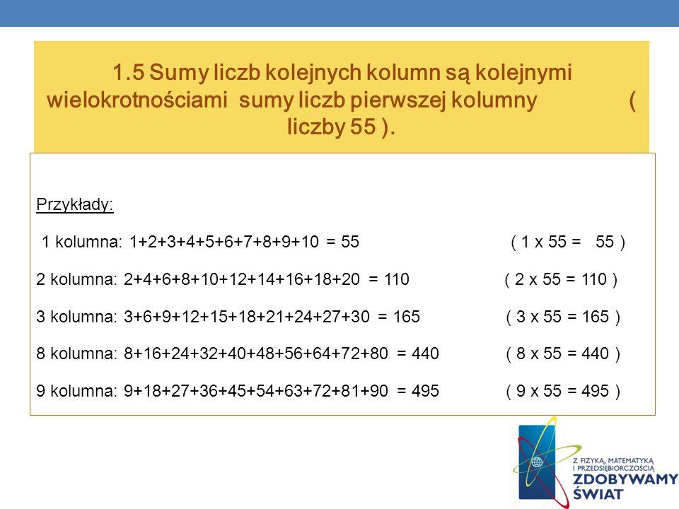 1.5 Sumy liczb kolejnych kolumn są kolejnymi wielokrotnościami sumy liczb pierwszej kolumny ( liczby 55 ).