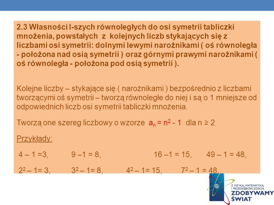 2.3 Własności I-szych równoległych do osi symetrii tabliczki mnożenia, powstałych z kolejnych liczb stykających się z liczbami osi symetrii: dolnymi lewymi narożnikami ( oś równoległa - położona nad osią symetrii ) oraz górnymi prawymi narożnikami ( oś równoległa - położona pod osią symetrii ).