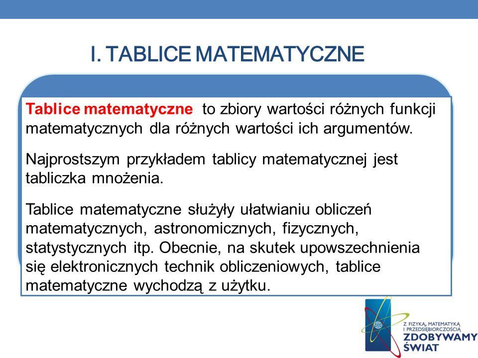 I. TABLICE MATEMATYCZNE Tablice matematyczne to zbiory wartości różnych funkcji matematycznych dla różnych wartości ich argumentów. Najprostszym przyk