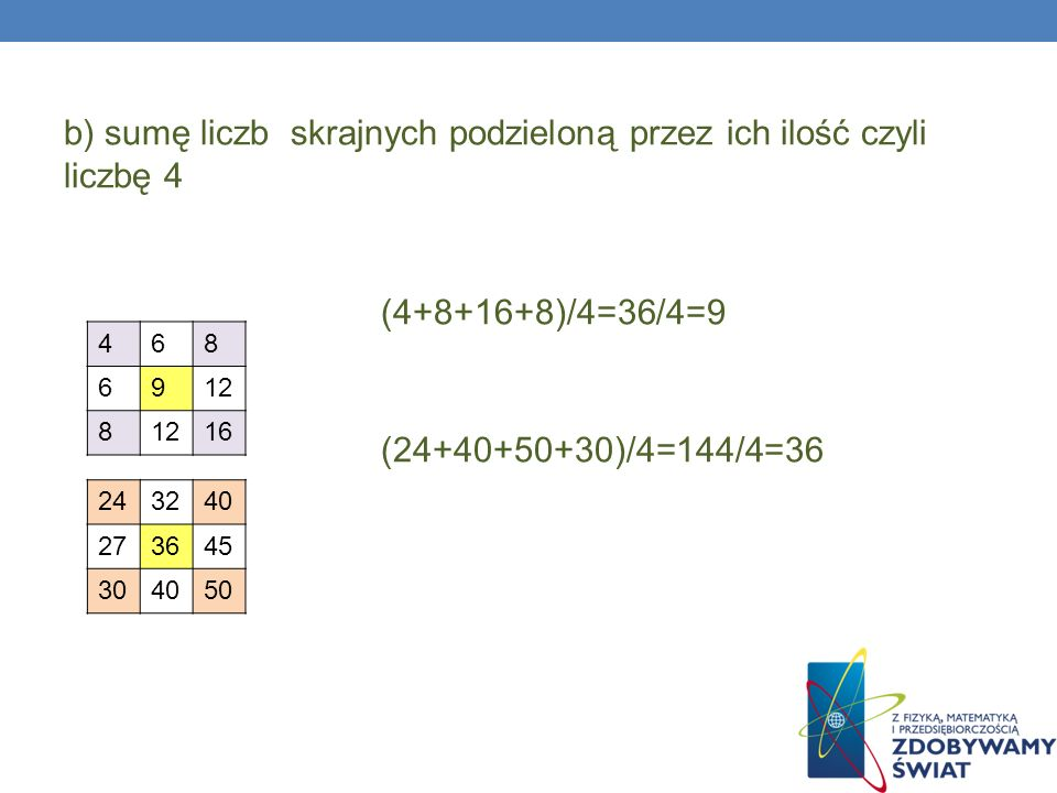 b) sumę liczb skrajnych podzieloną przez ich ilość czyli liczbę 4 (4+8+16+8)/4=36/4=9 (24+40+50+30)/4=144/4=36 468 6912 8 16 243240 273645 304050