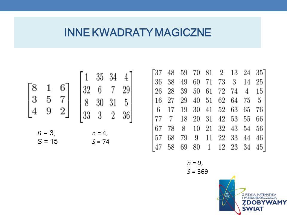 INNE KWADRATY MAGICZNE n = 3, S = 15 n = 4, S = 74 n = 9, S = 369