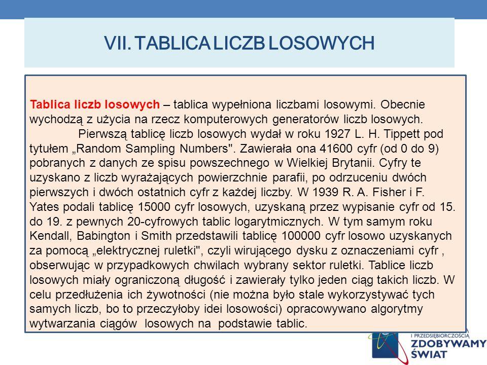 VII.TABLICA LICZB LOSOWYCH Tablica liczb losowych – tablica wypełniona liczbami losowymi.