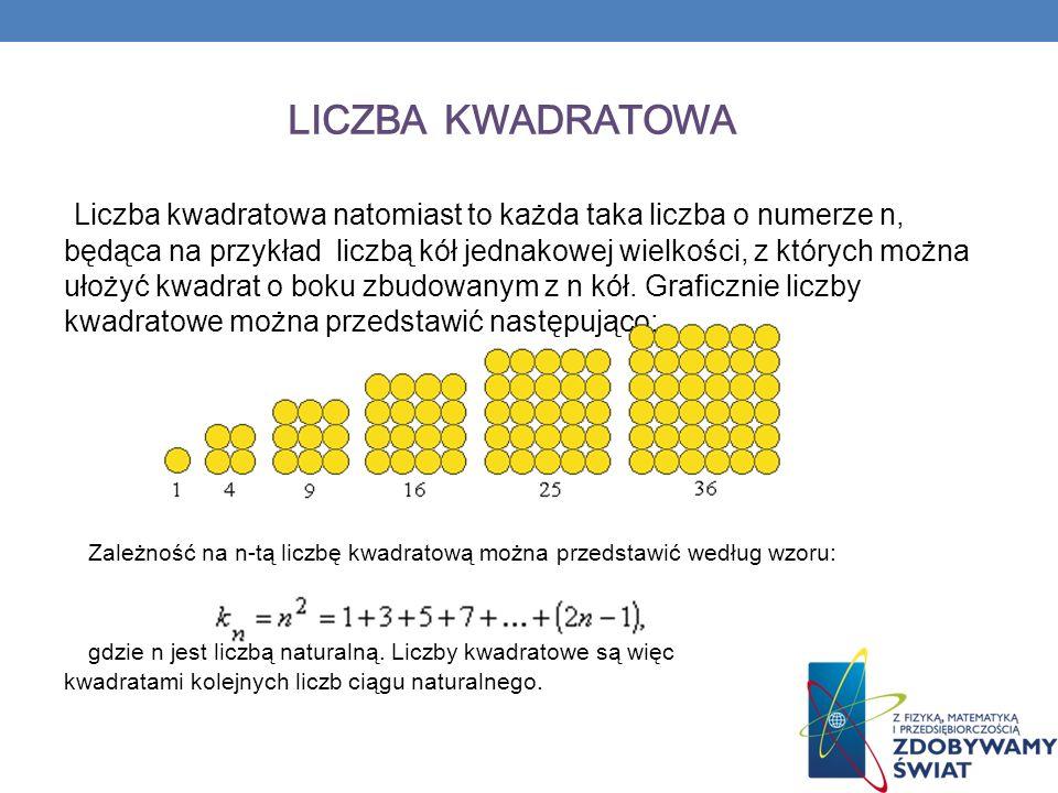 LICZBA KWADRATOWA Liczba kwadratowa natomiast to każda taka liczba o numerze n, będąca na przykład liczbą kół jednakowej wielkości, z których można ułożyć kwadrat o boku zbudowanym z n kół.