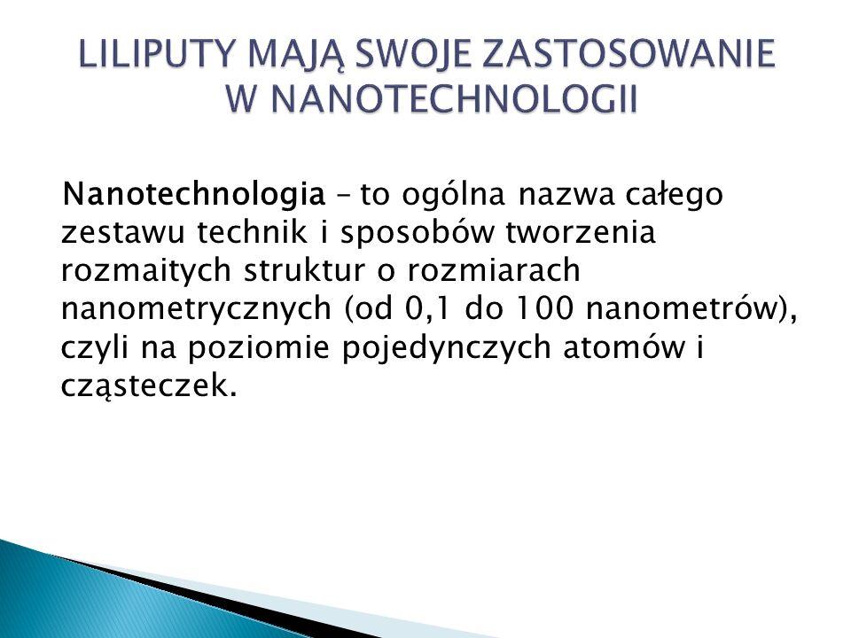 Nanotechnologia – to ogólna nazwa całego zestawu technik i sposobów tworzenia rozmaitych struktur o rozmiarach nanometrycznych (od 0,1 do 100 nanometrów), czyli na poziomie pojedynczych atomów i cząsteczek.