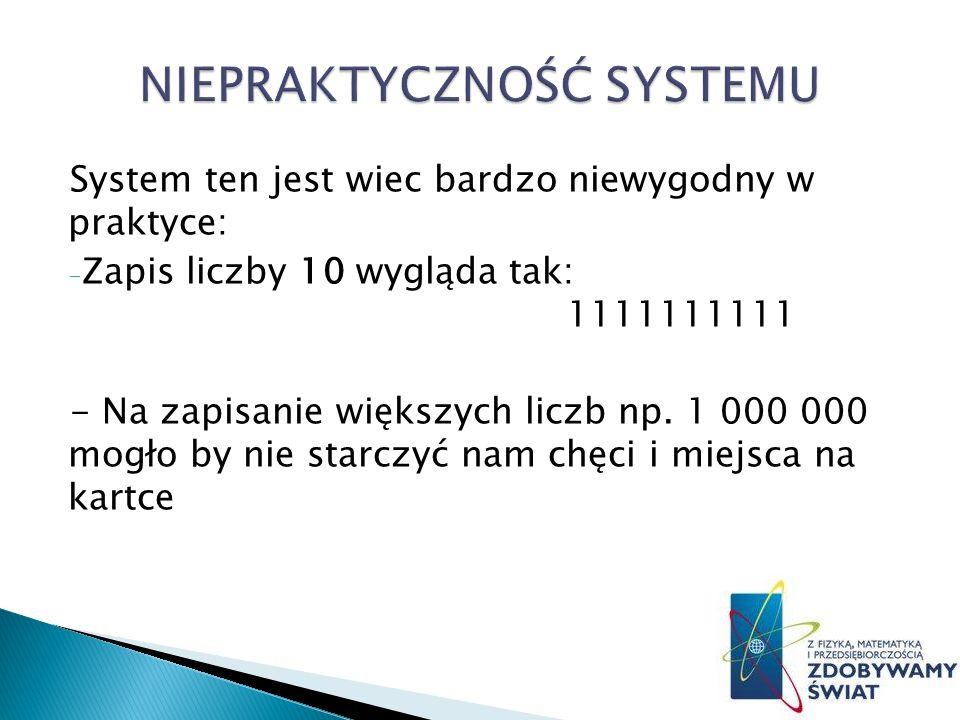 System ten jest wiec bardzo niewygodny w praktyce: - Zapis liczby 10 wygląda tak: 1111111111 - Na zapisanie większych liczb np.