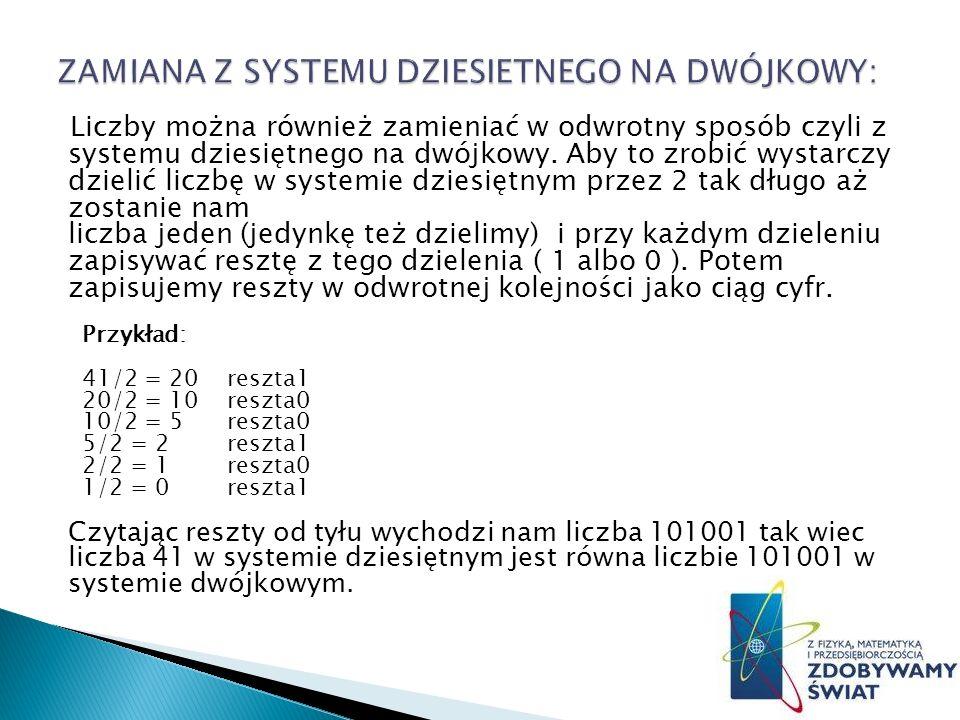 Liczby można również zamieniać w odwrotny sposób czyli z systemu dziesiętnego na dwójkowy.