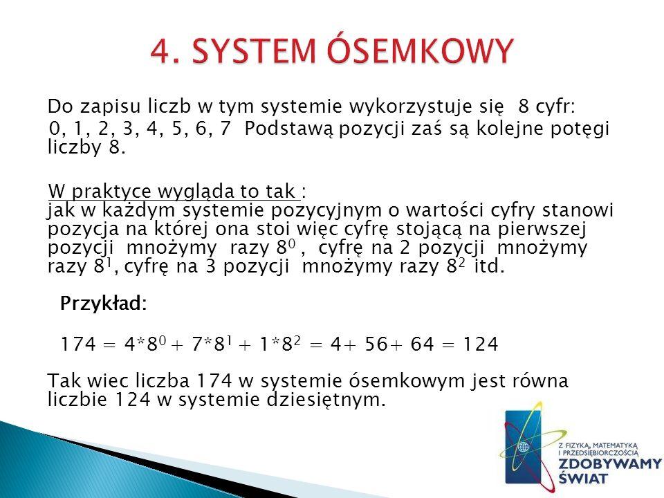 Do zapisu liczb w tym systemie wykorzystuje się 8 cyfr: 0, 1, 2, 3, 4, 5, 6, 7 Podstawą pozycji zaś są kolejne potęgi liczby 8.
