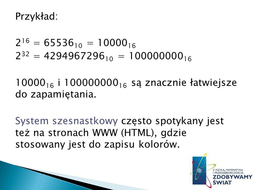 Przykład: 2 16 = 65536 10 = 10000 16 2 32 = 4294967296 10 = 100000000 16 10000 16 i 100000000 16 są znacznie łatwiejsze do zapamiętania.