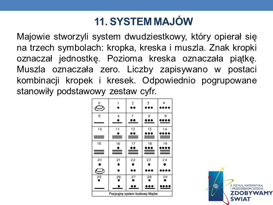 11. SYSTEM MAJÓW Majowie stworzyli system dwudziestkowy, który opierał się na trzech symbolach: kropka, kreska i muszla. Znak kropki oznaczał jednostk