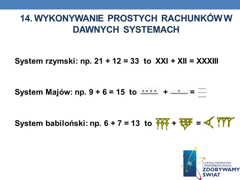 14. WYKONYWANIE PROSTYCH RACHUNKÓW W DAWNYCH SYSTEMACH System rzymski: np. 21 + 12 = 33 to XXI + XII = XXXIII System Majów: np. 9 + 6 = 15 to + = Syst
