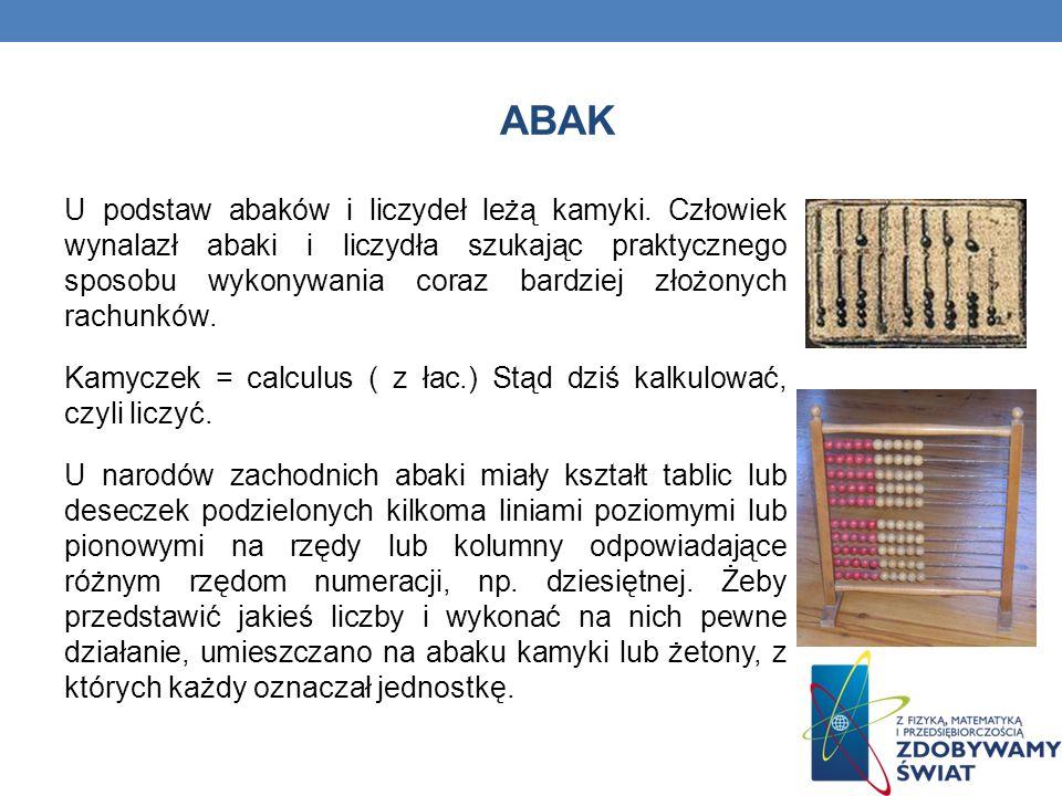ABAK U podstaw abaków i liczydeł leżą kamyki.