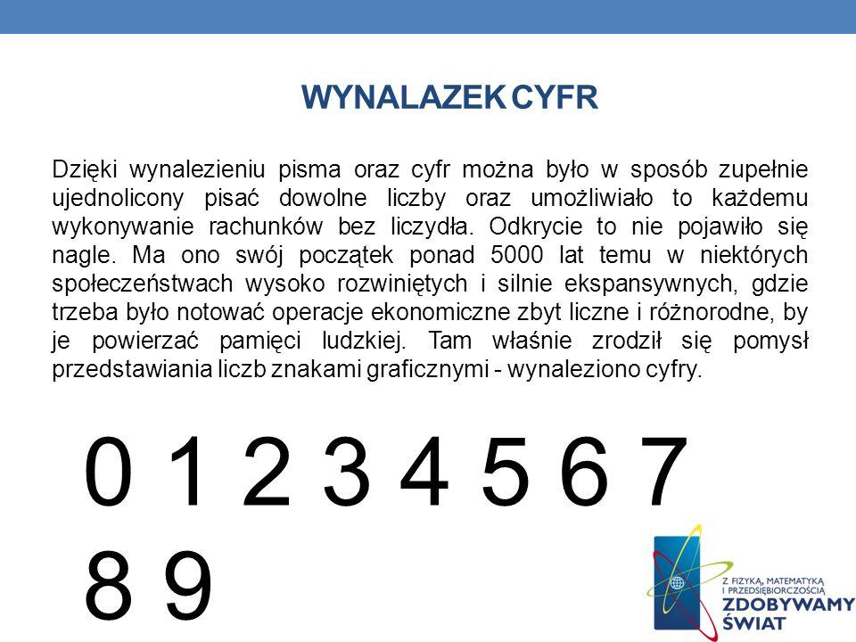 WYNALAZEK CYFR Dzięki wynalezieniu pisma oraz cyfr można było w sposób zupełnie ujednolicony pisać dowolne liczby oraz umożliwiało to każdemu wykonywanie rachunków bez liczydła.