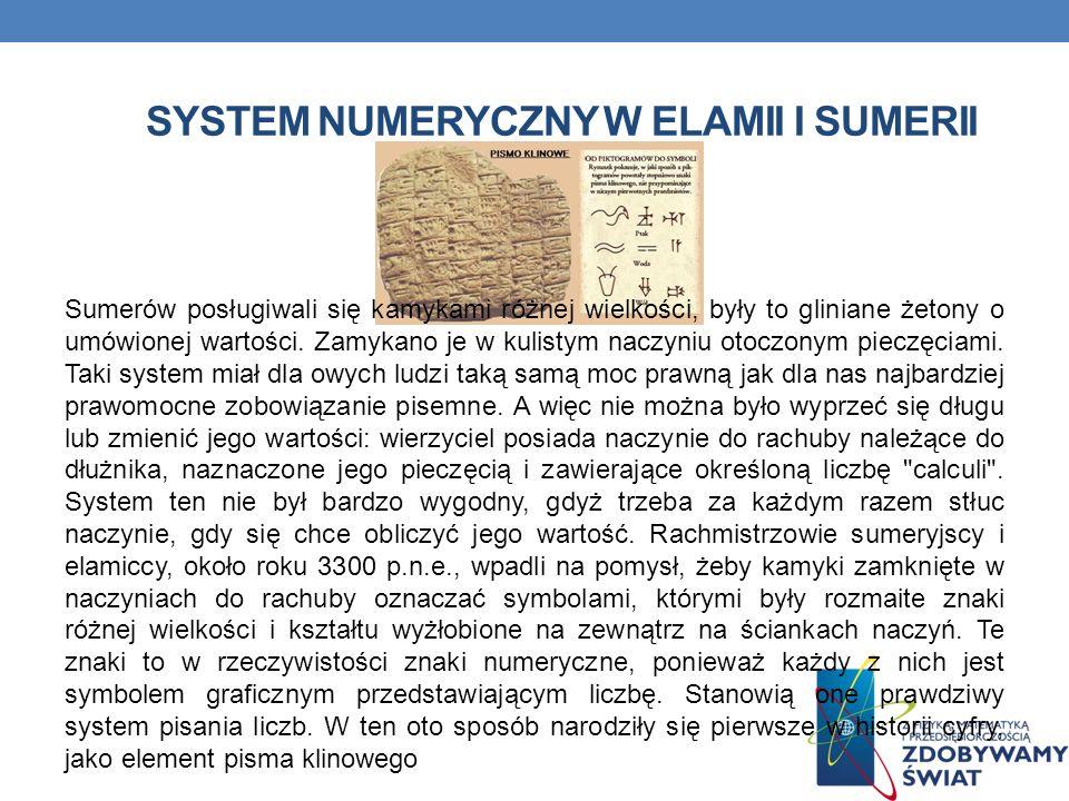 SYSTEM NUMERYCZNY W ELAMII I SUMERII Sumerów posługiwali się kamykami różnej wielkości, były to gliniane żetony o umówionej wartości.