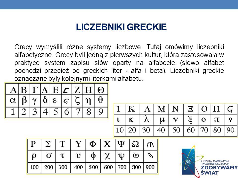 LICZEBNIKI GRECKIE Grecy wymyślili różne systemy liczbowe.