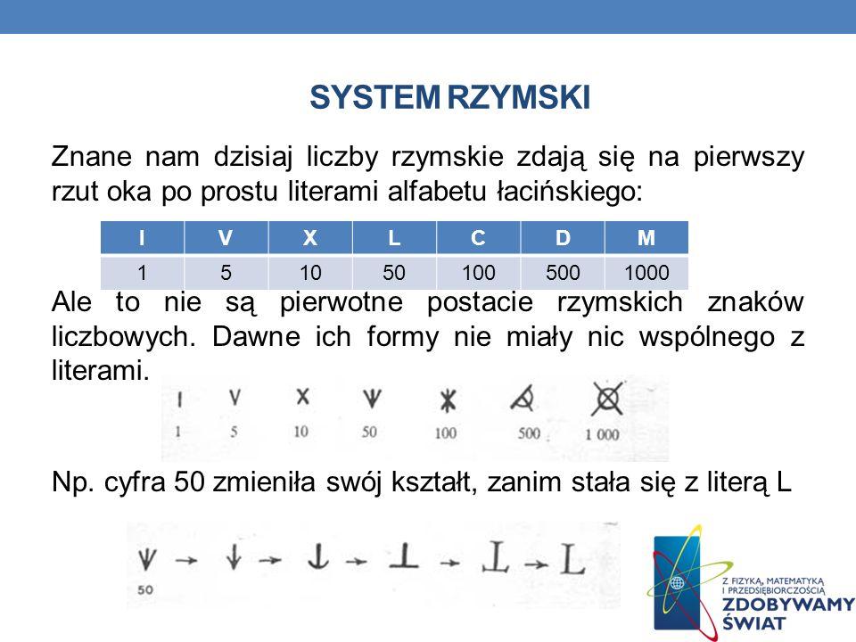 SYSTEM RZYMSKI Znane nam dzisiaj liczby rzymskie zdają się na pierwszy rzut oka po prostu literami alfabetu łacińskiego: Ale to nie są pierwotne postacie rzymskich znaków liczbowych.