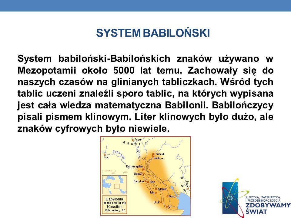 SYSTEM BABILOŃSKI System babiloński-Babilońskich znaków używano w Mezopotamii około 5000 lat temu.