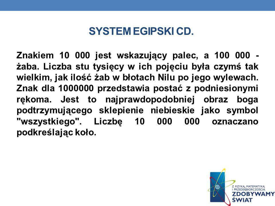 SYSTEM EGIPSKI CD.Znakiem 10 000 jest wskazujący palec, a 100 000 - żaba.