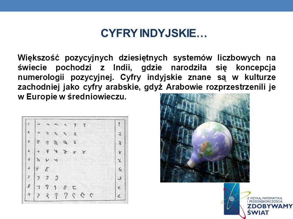 CYFRY INDYJSKIE… Większość pozycyjnych dziesiętnych systemów liczbowych na świecie pochodzi z Indii, gdzie narodziła się koncepcja numerologii pozycyjnej.