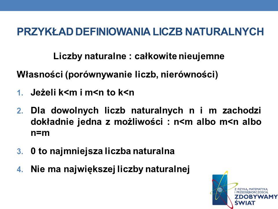 PRZYKŁAD DEFINIOWANIA LICZB NATURALNYCH Liczby naturalne : całkowite nieujemne Własności (porównywanie liczb, nierówności) 1.