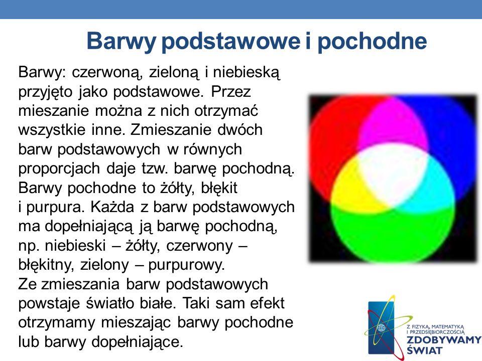 Barwy podstawowe i pochodne Barwy: czerwoną, zieloną i niebieską przyjęto jako podstawowe. Przez mieszanie można z nich otrzymać wszystkie inne. Zmies