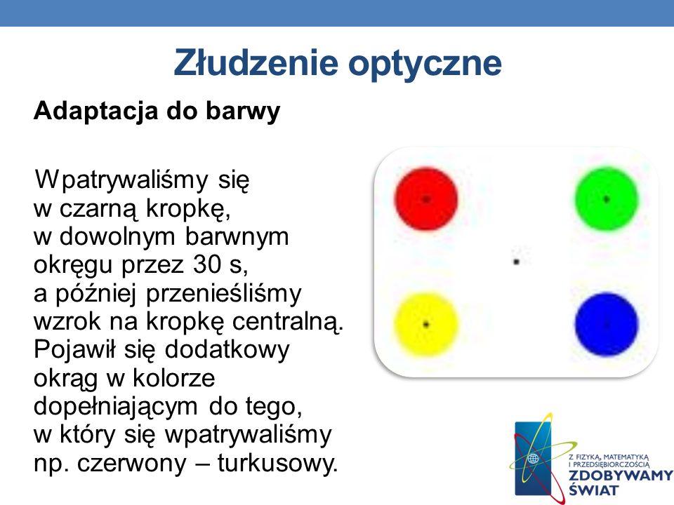 Złudzenie optyczne Adaptacja do barwy Wpatrywaliśmy się w czarną kropkę, w dowolnym barwnym okręgu przez 30 s, a później przenieśliśmy wzrok na kropkę