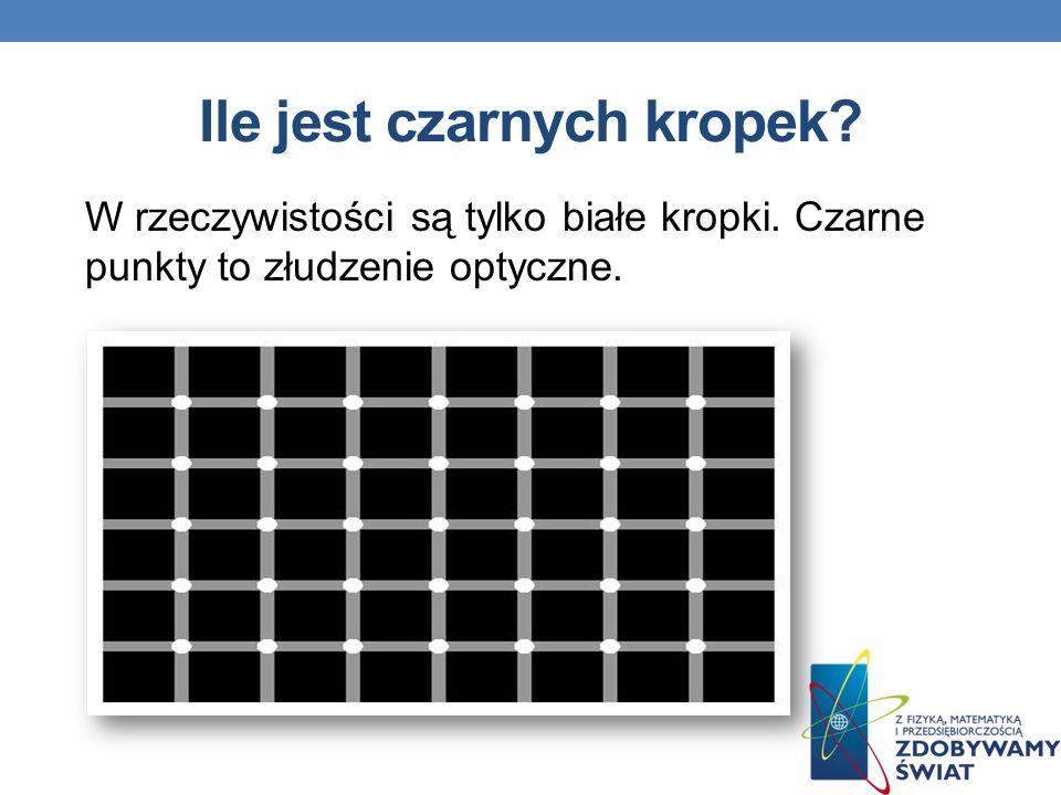 Ile jest czarnych kropek? W rzeczywistości są tylko białe kropki. Czarne punkty to złudzenie optyczne.