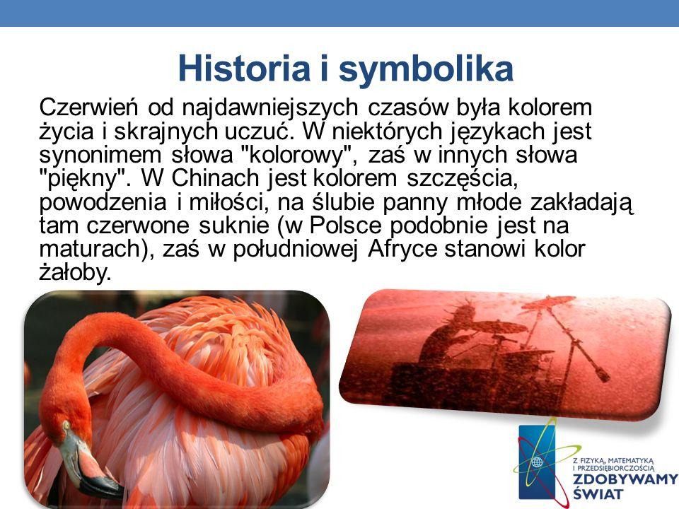 Historia i symbolika Czerwień od najdawniejszych czasów była kolorem życia i skrajnych uczuć. W niektórych językach jest synonimem słowa