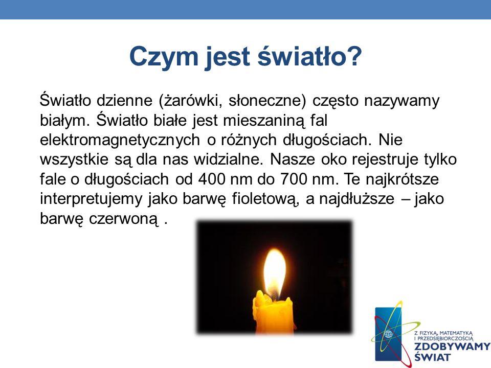Czym jest światło? Światło dzienne (żarówki, słoneczne) często nazywamy białym. Światło białe jest mieszaniną fal elektromagnetycznych o różnych długo
