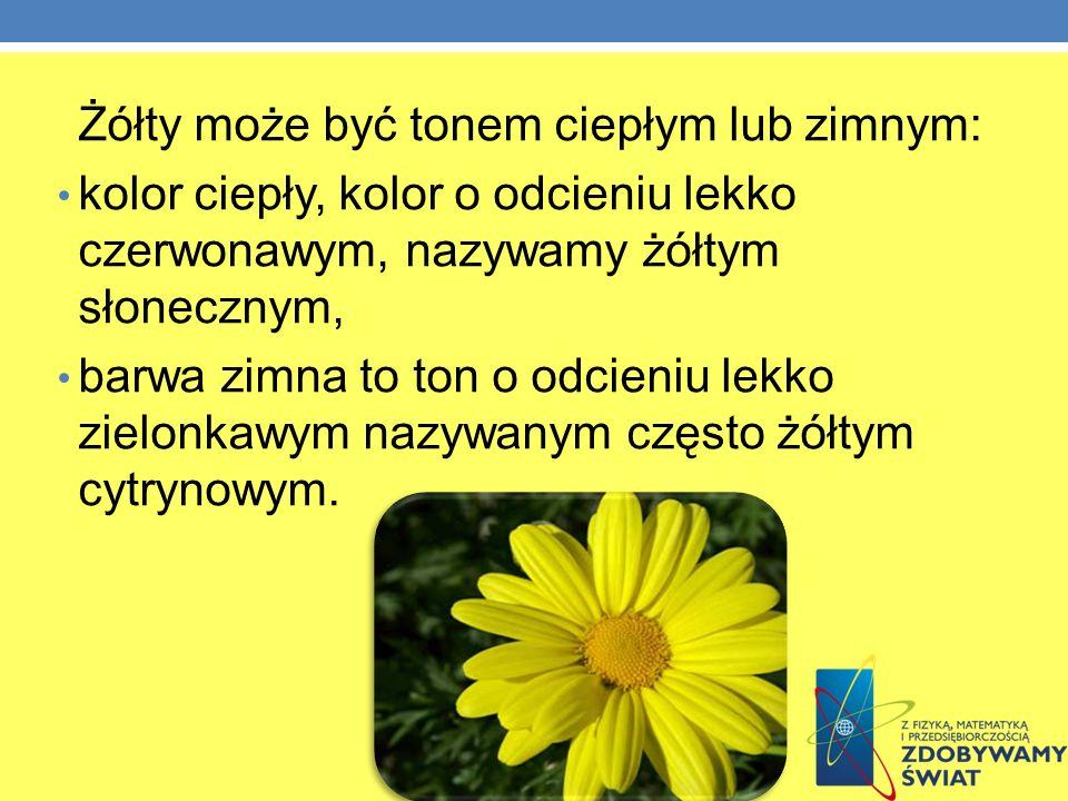 Żółty może być tonem ciepłym lub zimnym: kolor ciepły, kolor o odcieniu lekko czerwonawym, nazywamy żółtym słonecznym, barwa zimna to ton o odcieniu l