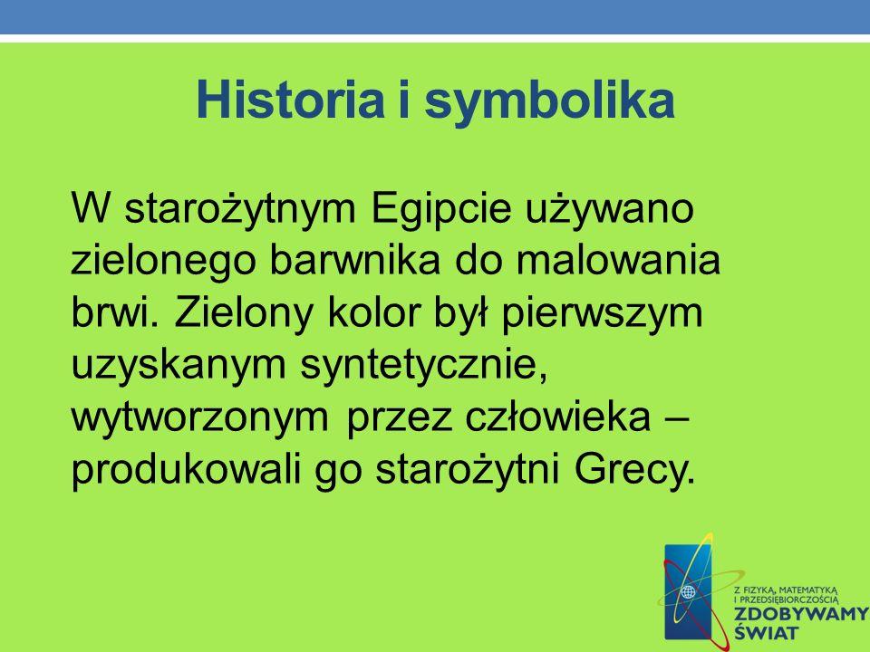 Historia i symbolika W starożytnym Egipcie używano zielonego barwnika do malowania brwi. Zielony kolor był pierwszym uzyskanym syntetycznie, wytworzon