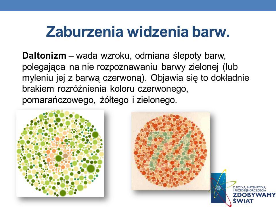 Zaburzenia widzenia barw. Daltonizm – wada wzroku, odmiana ślepoty barw, polegająca na nie rozpoznawaniu barwy zielonej (lub myleniu jej z barwą czerw