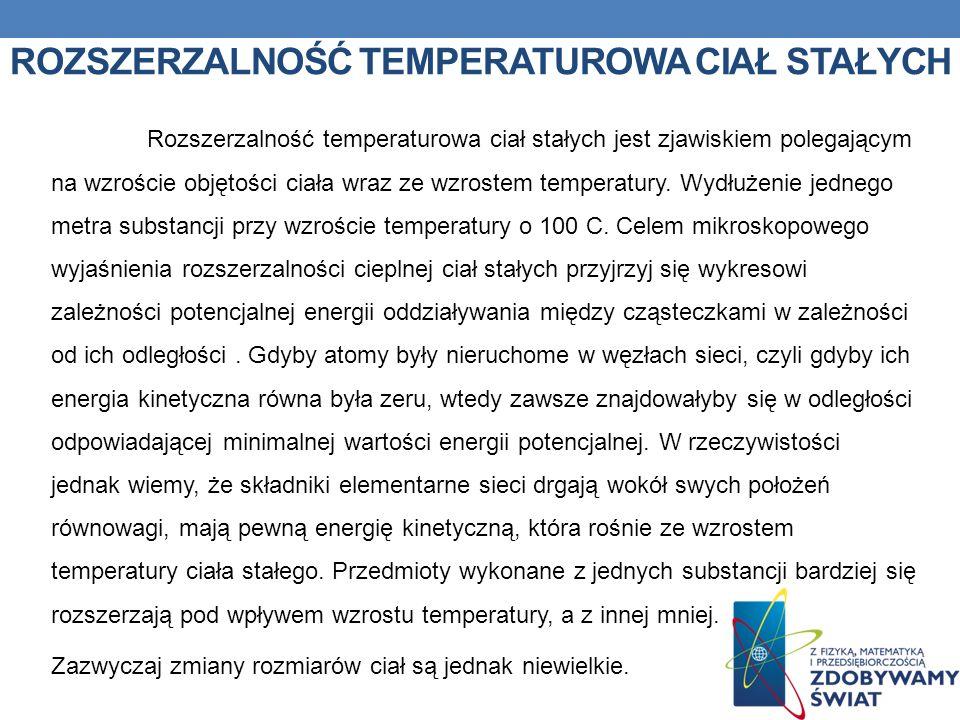 ROZSZERZALNOŚĆ TEMPERATUROWA CIAŁ STAŁYCH Rozszerzalność temperaturowa ciał stałych jest zjawiskiem polegającym na wzroście objętości ciała wraz ze wz