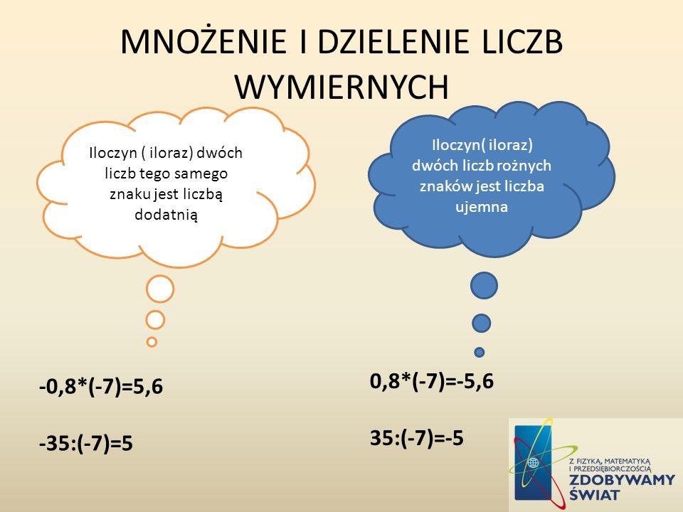MNOŻENIE I DZIELENIE LICZB WYMIERNYCH Iloczyn ( iloraz) dwóch liczb tego samego znaku jest liczbą dodatnią Iloczyn( iloraz) dwóch liczb rożnych znaków