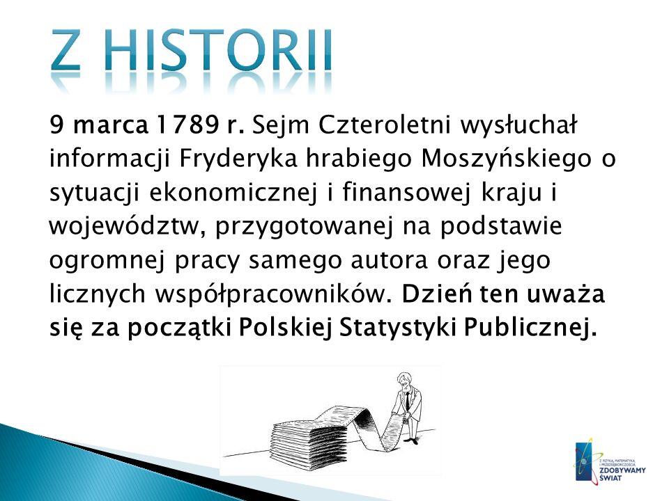9 marca 1789 r. Sejm Czteroletni wysłuchał informacji Fryderyka hrabiego Moszyńskiego o sytuacji ekonomicznej i finansowej kraju i województw, przygot