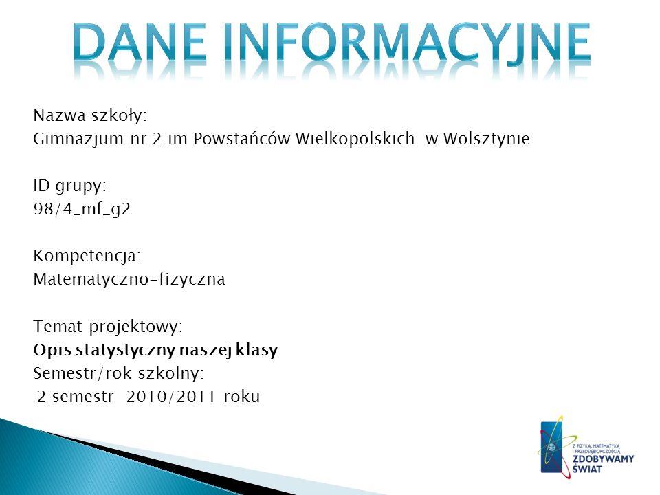 Nazwa szkoły: Gimnazjum nr 2 im Powstańców Wielkopolskich w Wolsztynie ID grupy: 98/4_mf_g2 Kompetencja: Matematyczno-fizyczna Temat projektowy: Opis