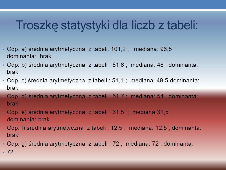 Odp. a) średnia arytmetyczna z tabeli: 101,2 ; mediana: 98,5 ; dominanta: brak Odp.