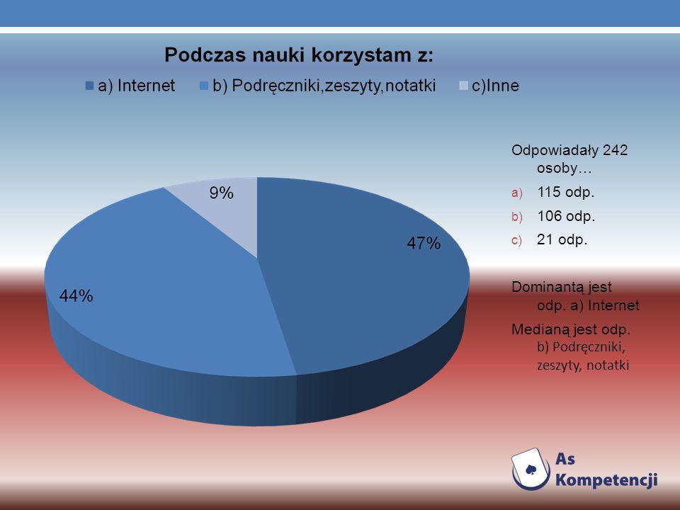 Odpowiadały 242 osoby… a) 115 odp. b) 106 odp. c) 21 odp.