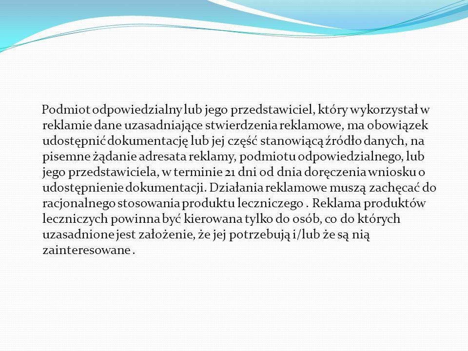 XI.Wymagania działań reklamowych Działania reklamowe powinny spełniać następujące wymagania... Reklama leków powinna spełniać wymagania prawne oraz wy