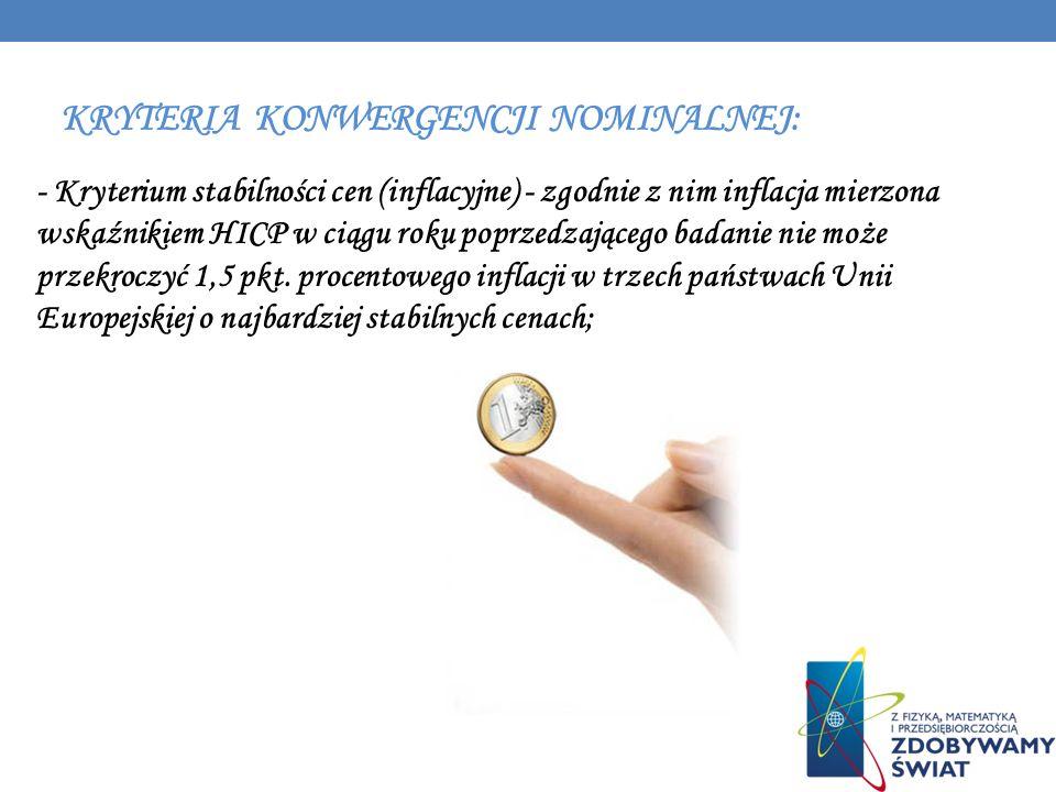 KRYTERIA KONWERGENCJI NOMINALNEJ: - Kryterium stabilności cen (inflacyjne) - zgodnie z nim inflacja mierzona wskaźnikiem HICP w ciągu roku poprzedzają