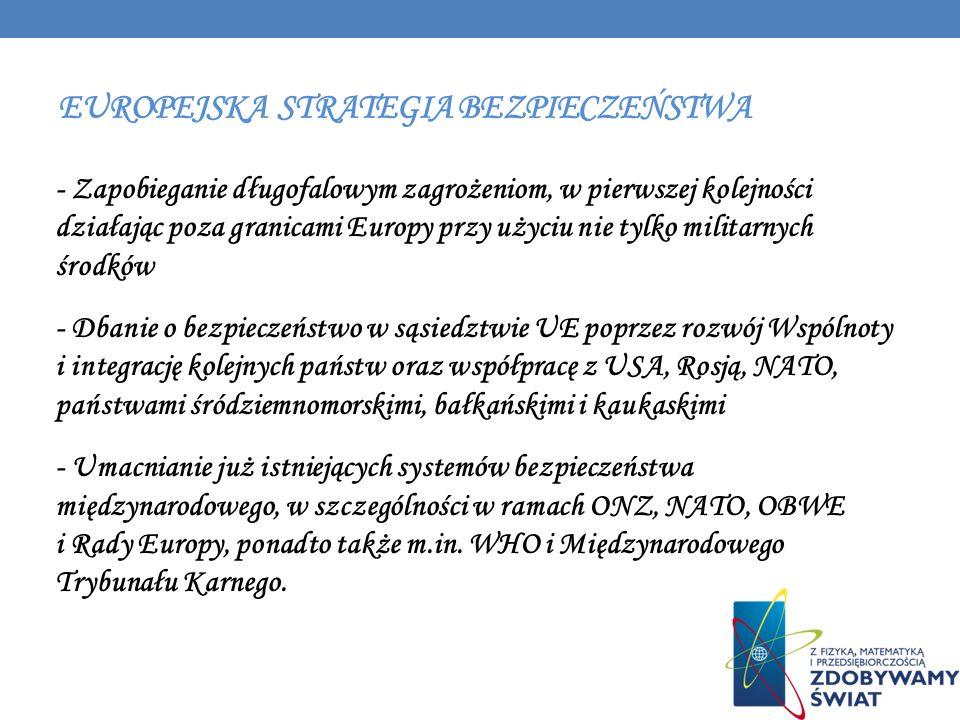 EUROPEJSKA STRATEGIA BEZPIECZEŃSTWA - Zapobieganie długofalowym zagrożeniom, w pierwszej kolejności działając poza granicami Europy przy użyciu nie ty