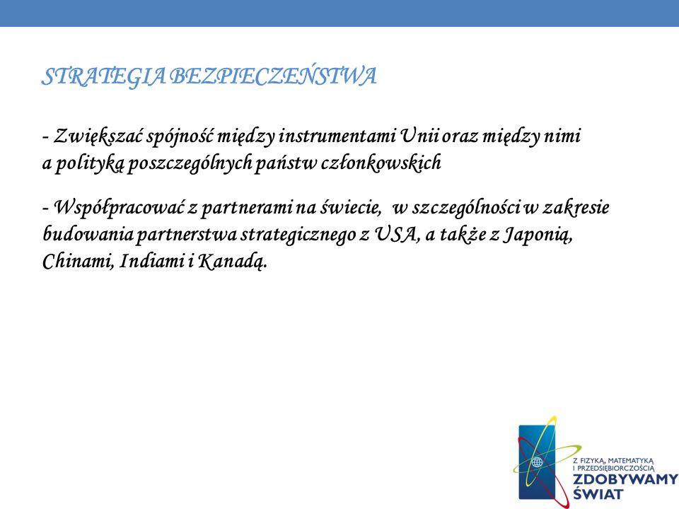 STRATEGIA BEZPIECZEŃSTWA - Zwiększać spójność między instrumentami Unii oraz między nimi a polityką poszczególnych państw członkowskich - Współpracowa