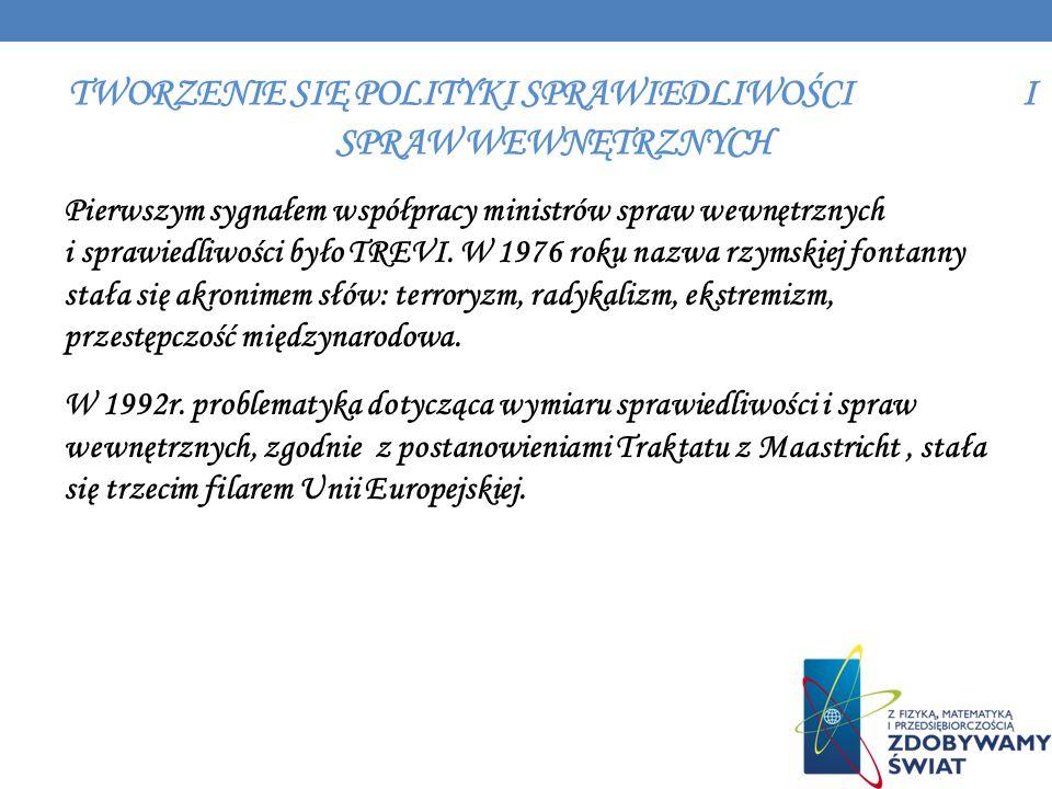 TWORZENIE SIĘ POLITYKI SPRAWIEDLIWOŚCI I SPRAW WEWNĘTRZNYCH Pierwszym sygnałem współpracy ministrów spraw wewnętrznych i sprawiedliwości było TREVI. W