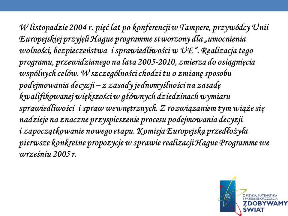 W listopadzie 2004 r. pięć lat po konferencji w Tampere, przywódcy Unii Europejskiej przyjęli Hague programme stworzony dla umocnienia wolności, bezpi