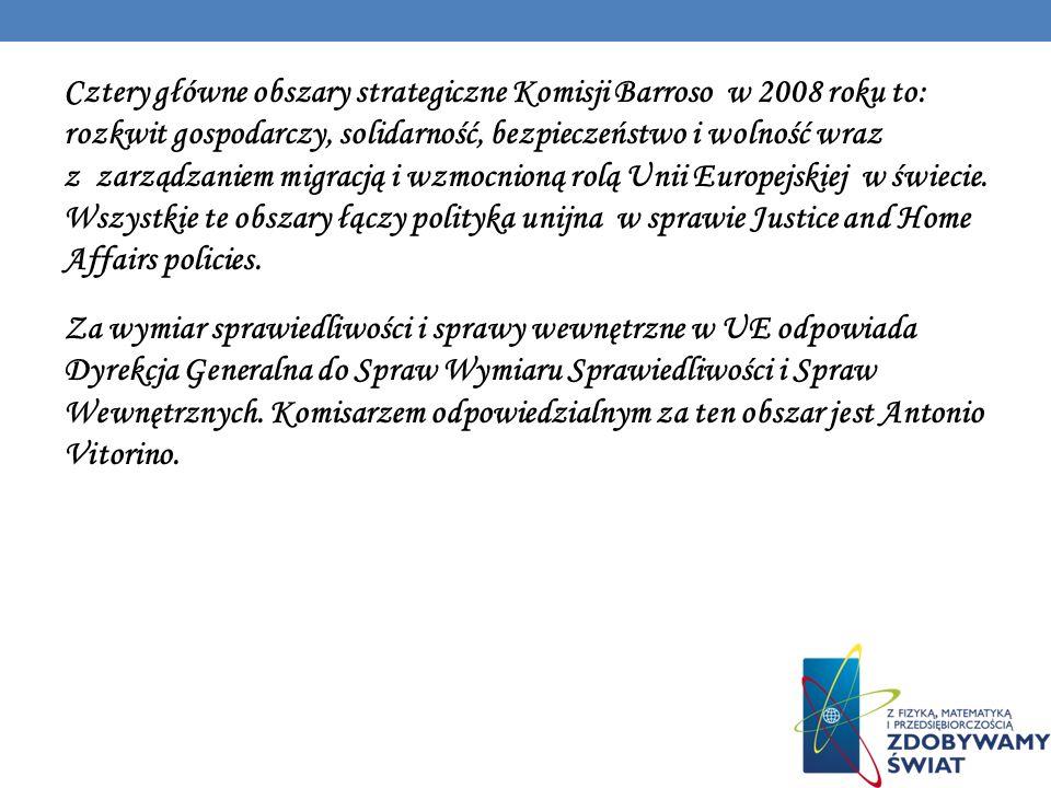 Cztery główne obszary strategiczne Komisji Barroso w 2008 roku to: rozkwit gospodarczy, solidarność, bezpieczeństwo i wolność wraz z zarządzaniem migr