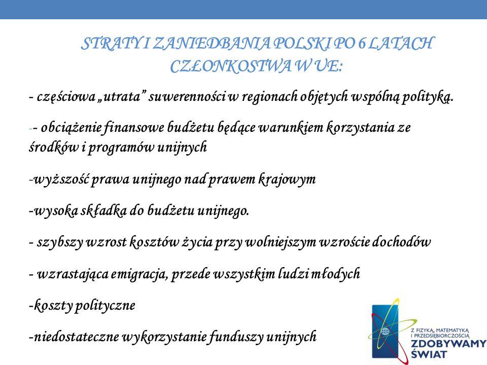 STRATY I ZANIEDBANIA POLSKI PO 6 LATACH CZŁONKOSTWA W UE: - częściowa utrata suwerenności w regionach objętych wspólną polityką. - - obciążenie finans